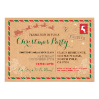 Christmas Party Dinner Postal Post Card Invite