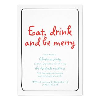 Christmas Party Eat Drink Be Merry Blue Red Simple Card