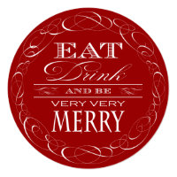 Christmas Party Elegant Red Eat Drink and Be Merry Card