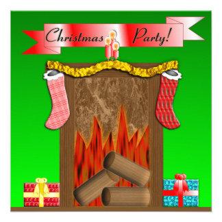 Christmas Party Festive Fireside - Green Announcement