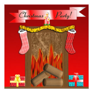 Christmas Party Festive Fireside - Red Personalized Announcement