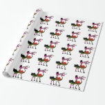 Christmas Party Flamingo Wrapping Paper
