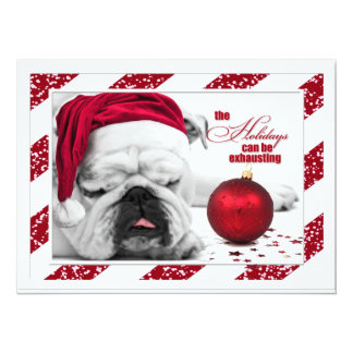 Christmas Party Funny Bulldog Santa Card