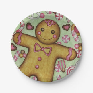 Christmas Party Gingerbread Boy Paper Plates