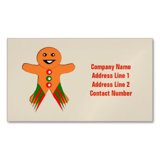 Christmas Party Gingerbread Man Custom Business Card Magnet