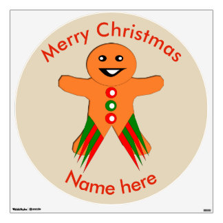 Christmas Party Gingerbread Man Custom Wall Decal