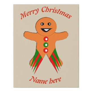 Christmas Party Gingerbread Man Faux Canvas