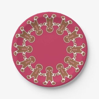 Christmas Party Gingerbread Wreath Paper Plates