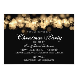 Christmas Party Gold Bokeh Lights Card
