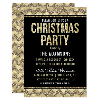 Christmas Party | Gold Champagne Glitter Chevrons Card