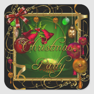 Christmas Party Green Red Xmas Square Sticker