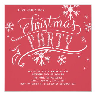 Christmas Party Holiday Snowflakes Square Red Card