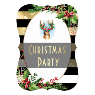 Christmas Party | Holly Wreathed Reindeer Antlers Card