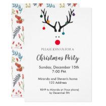 Christmas party invitation card modern reindeer