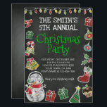 "Christmas Party Invitation, Chalkboard Invitation<br><div class=""desc"">Create your own Christmas Party Invitation. All the text is editable on this Invitation. Graphics by LagartixaShop.com</div>"