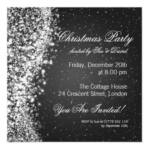Christmas Party Invitation Elegant Sparkle Black Invitations