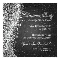Christmas Party Invitation Elegant Sparkle Black