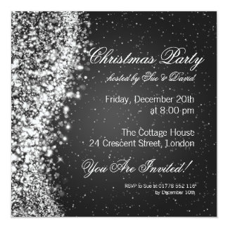 Christmas Party Invitation Elegant Sparkle Black