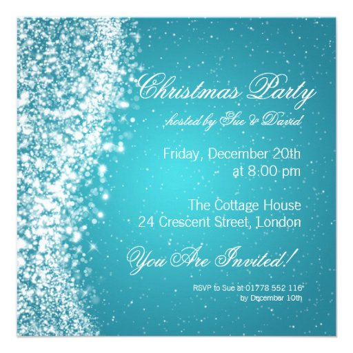 Christmas Party Invitation Elegant Sparkle Blue Personalized Invitations