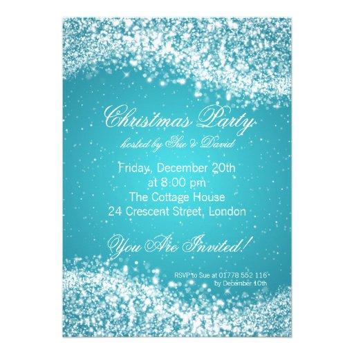 Christmas Party Invitation Elegant Sparkle Blue Invite