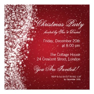 Christmas Party Invitation Elegant Sparkle Red