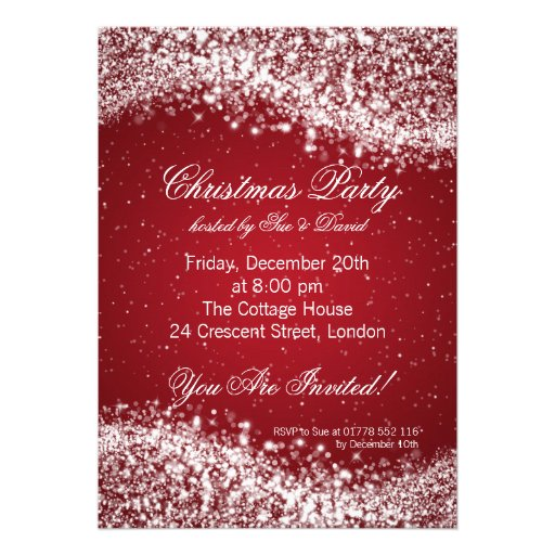 Christmas Party Invitation Elegant Sparkle Red Invite
