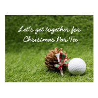 Christmas Party Invitation golfer Postcard