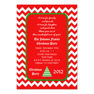 Christmas Party Invitation Red and White Chevron