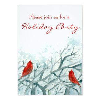 Christmas Party Invitation Red Cardinal Birds