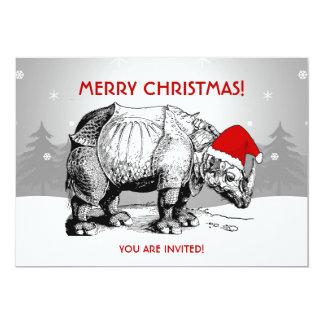 Christmas Party Invitation Rhino Santa Hat Funny