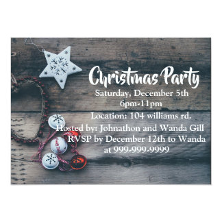Christmas party invitation rustic