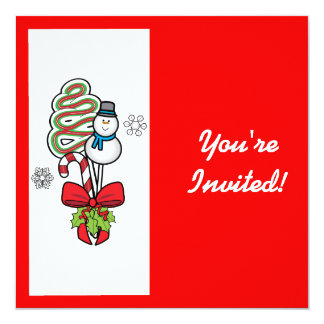 Christmas Party Invitation Snowman and Candy Cane