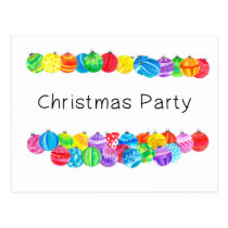 Christmas Party Invitation , watercolor baubles Postcard