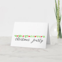 Christmas Party Invitation, watercolor Christmas Holiday Card