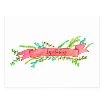 Christmas Party Invitation, watercolor Christmas Postcard