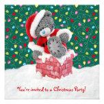 Christmas party Invitation with Santa Teddy Bear