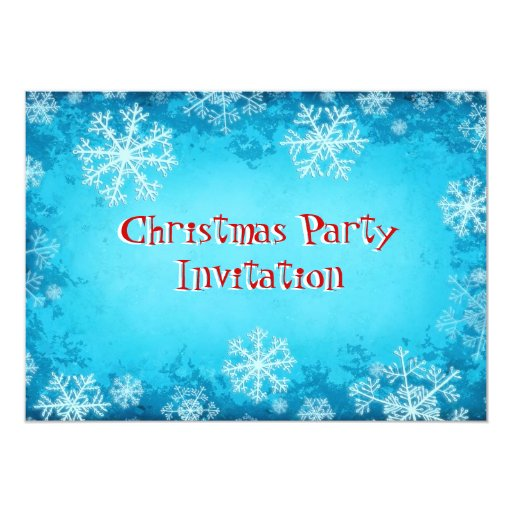 """Christmas Party Invitation with snowflakes 5"""" X 7"""" Invitation Card"""