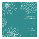"""Christmas Party Invitation with Snowflakes - Green 5.25"""" Square Invitation Card"""