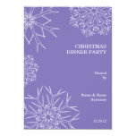 """Christmas Party Invitation with Snowflakes  Purple 5"""" X 7"""" Invitation Card"""
