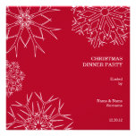 Christmas Party Invitation with Snowflakes - Red
