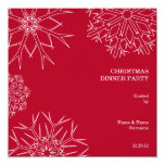 """Christmas Party Invitation with Snowflakes - Red 5.25"""" Square Invitation Card"""