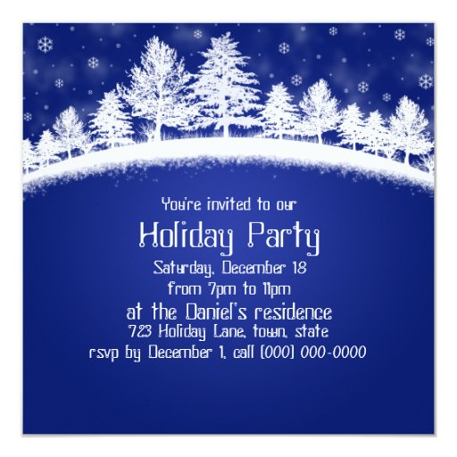 Christmas Party Invitations Blue And White