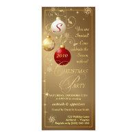 Christmas Party Invitations-Elegant Gold Monogram Card