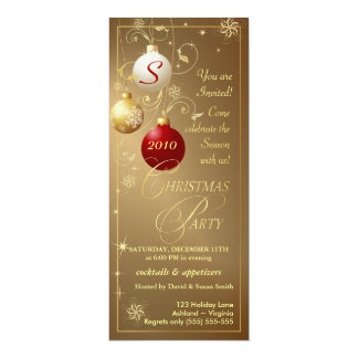 Christmas Party Invitations-Elegant Gold Monogram Card