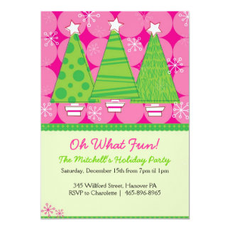 Christmas Party Invitations - Pink and Green Trees