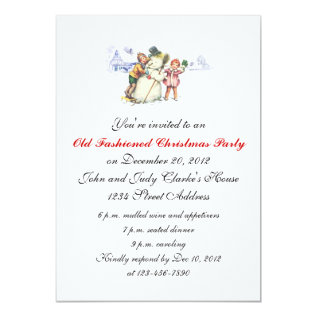 Christmas Party Invitations Vintage Snowman at Zazzle