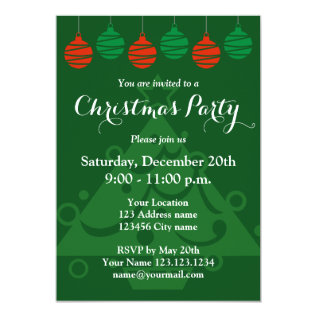 Christmas party invitations with hanging lights at Zazzle