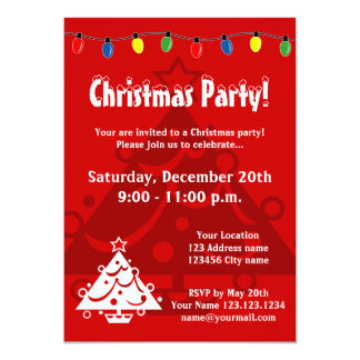 Christmas party invitations with Xmas tree lights