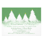 Christmas Party Invite- Green with White Trees