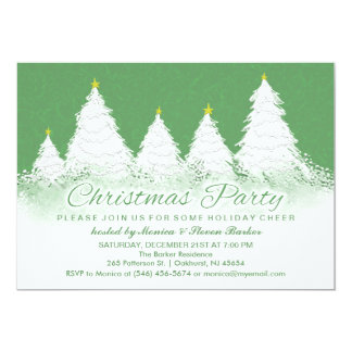 Christmas Party Invite- Green with White Trees 5x7 Paper Invitation Card